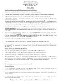 Apartment Lease Application Form Standard Realty