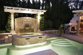 custom wall fountain and spa