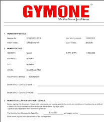 Fitness Class Registration Form Template Membership Application Word