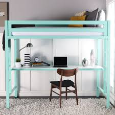 Teal Desk Underneath Bunk Bed With Desk