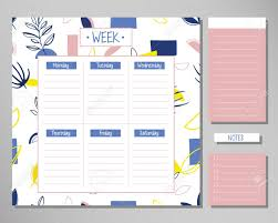Design Schedule Template Weekly Planner With Creative Floral Elements Schedule Design