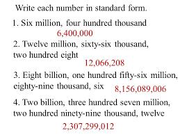 1 billion in standard form objective to understand billions 1one 10ten 100 hundred 1 000