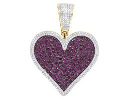 10k yellow gold real red ruby diamond heart love pedant charm 3 1 2 ct 1 75