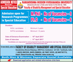 admission open for research programme 2017 vivekananda in special education 2017