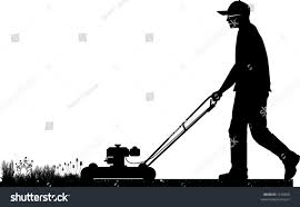 commercial lawn mower silhouette. vector silhouette graphic depicting a man doing yard-work commercial lawn mower