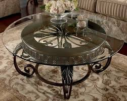 coffee table round glass top table no frame dark coated iron base french wrought iron