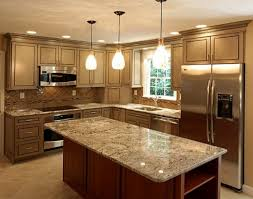 kitchen design cabinets traditional light: modern small kitchen room renovating with cabnetry in brown color with granite countertop also recessed lighting