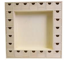 square 24 drawer advent calendar with central inner frame to decorate plain wooden advent calendars other wood mdf s the wooden box mill