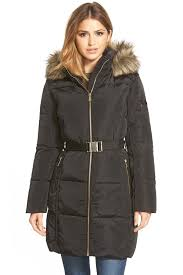 image of michael michael kors faux fur trim belted down feather fill parka