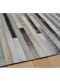 gaucho stripe leather rugs in light grey on uk