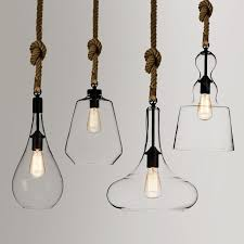 hanging pendant lighting. 96ea rustic simplistic 1light clear glass shade hemp rope hanging pendant light lighting t