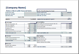 balance sheet template balance sheet with financial ratio excel templates