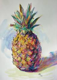 pineapple drawing color. by kelsey hamersley, painted with colored inks, using a brush pineapple drawing color r