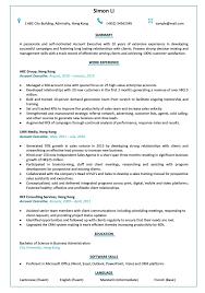 Cv Account Resume Cv Sample For Account Executive Jobsdb Hong Kong