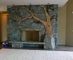 Custom Stonework Fireplace contemporary-living-room