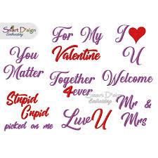 8 Englische Valentinstag Sprüche 12x12 Cm Stickdatei Smart Dsign