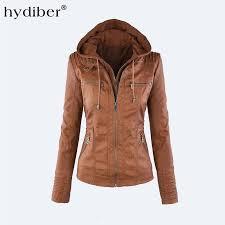whole hooded faux leather jacket women autumn winter tops long sleeve hat detachable pu leather slim coat plus size z24 uk 2019 from burtom