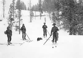 Ski cavalry with poacher Edgar Howell, Yellowstone National Park, circa 1890