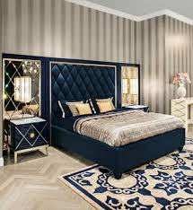 deco bedroom furniture. Art Deco Bedroom With Stripes Wallpaper Navy Blue Bed Frame And Luxury Sheet Furniture