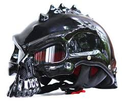 skull motorcycle helmet blue fire store