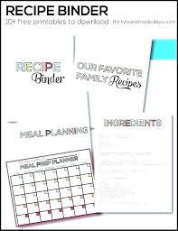 Recipe Binder Templates Printable Recipe Book Template