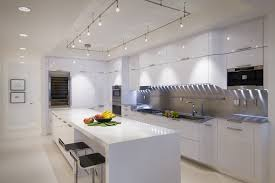 lighting high tech white kitchen designs concept with long island and stylish track lighting ideas
