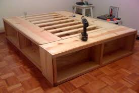 Platform bed plans diy with storage drawers king size endearing