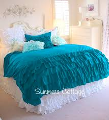 3 piece full queen aqua teal turquoise ruffled duvet comforter cover pillow shams view images