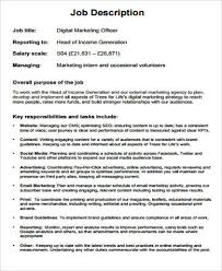 Marketing Officer Job Description - April.onthemarch.co