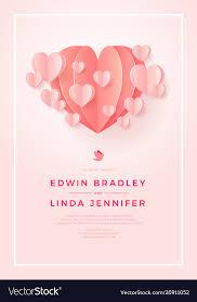 Happy Wedding Postcard With Love Symbol Paper Art Vector Image