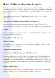 Resume Strengths Examples Career Summary Example Job Weakness ...