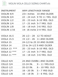 Sizing Chart For Violin Viola Cello Teaching Orchestra