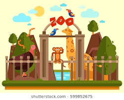 zoo entrance clip art. Unique Entrance Colourful View Of The Zoo Entrance With Animals And Beautiful Landscape  Flat Vector Banner And Zoo Entrance Clip Art P
