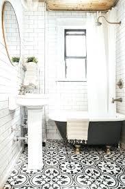 black and white tile floor. Black And White Bathroom Floor Patterned Tiles Tile Designs Retro