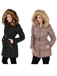 womens mid length padded parka coat faux fur hooded jacket las size uk 8 14