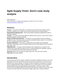 solution agile supply chain zara s case study analysis studypool