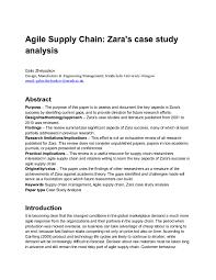 agile supply chain zara s case study analysis studypool