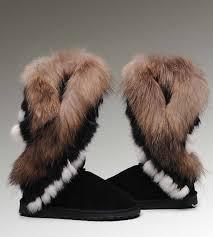 Women s UGG Boots On Sale Tall Fox Fur 8688 Black