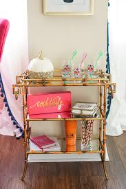 bamboo bar cart. Halloween Party Gold Bamboo Bar Cart With Skull Wine Glasses