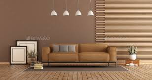 modern living room with sofa and wooden