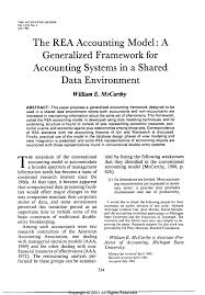 pdf the rea accounting model a generalized framework for accounting systems shared data environment