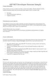 Resume Dot Net Developer Dot Net Developer Resume Example
