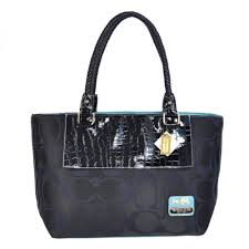 Coach Embossed In Signature Medium Black Totes BMS