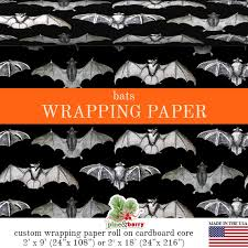 bats gothic wrapping paper custom bats gift wrap matte finish available in 2 sizes for any occasion made in the usa