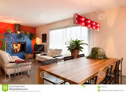 Living Room With Dining Table Wooden Dining Table Living Room Background Stock Photo Image