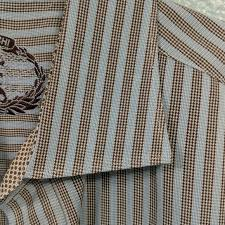 Bugatchi Shaped Fit Checkered Stripe Button Xl