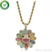 whole hip hop designer jewelry mens gold chain pendants diamond necklace iced out cz sunflower spinning pendant bling luxury pandora style charms silver