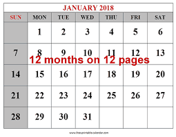 mothly calendar free printable 2018 calendars download free 2018 12 month calendar