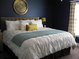 Good Dramatic Navy Blue Bedroom