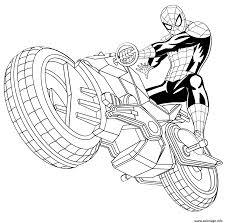 Coloriage Spiderman Avec Sa Spider Moto Auto Tres Rapide Dessin Dessin De Spiderman A Colorier L